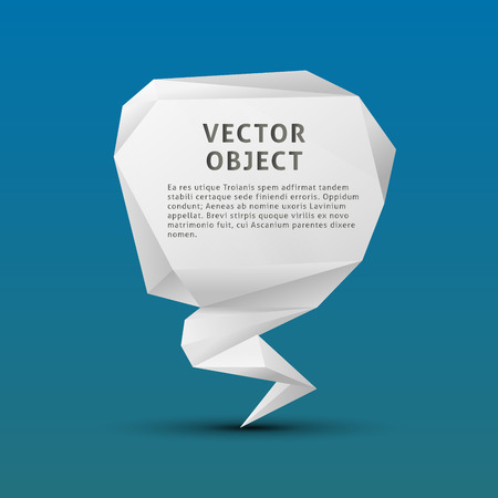 3d dove: White paper polygon triangle object on blue background Illustration