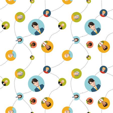 social network flat seamless pattern Vector