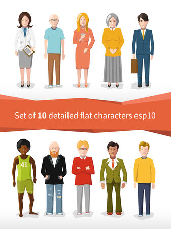 set of 10 detailed flat characters on white Vector