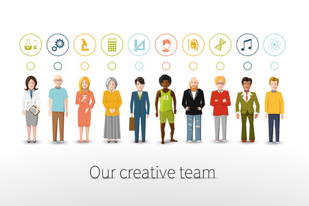 Our creative team of ten people with occupations icons