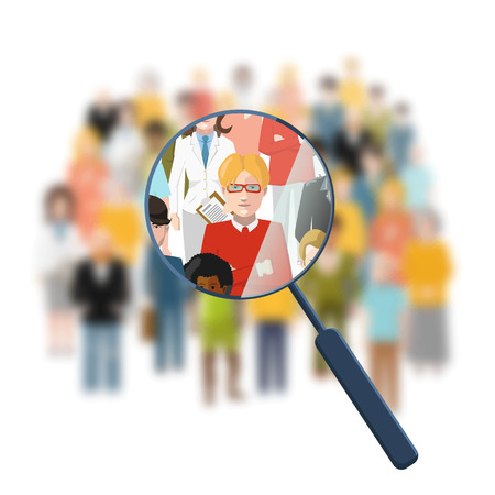 magnifying glass man: Looking for a person in the crowd Illustration