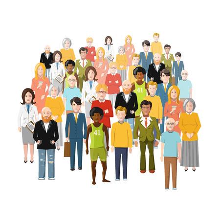 personas de pie: Grupo internacional de personas, j�venes y viejos, de diferentes estratos sociales, aislado en blanco Vectores