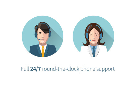 Full round-the-clock phone support icons