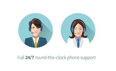 Rond-le-horloge assistance téléphonique icônes complètes Banque d'images - 34532626
