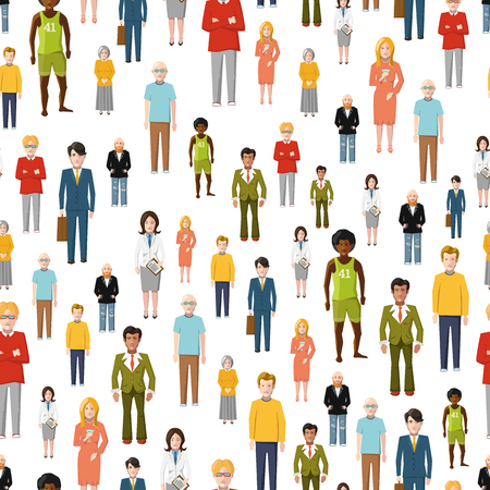 large woman: Large group of flat cartoon people. vector seamless pattern