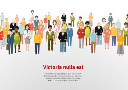 mensen groep: Grote groep cartoon mensen vector achtergrond Stock Illustratie