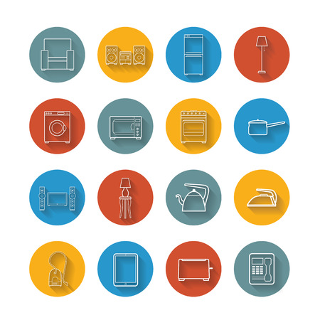 electricals: Set flat icons of house appliance Illustration