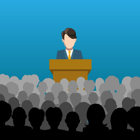 A man holds a lecture to an audience flat illustration