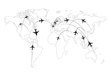 Airline routes on map black and white infographic Ilustração