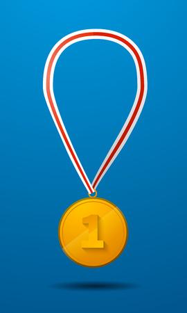 primer lugar: Medalla de oro para el primer lugar con el icono de cinta