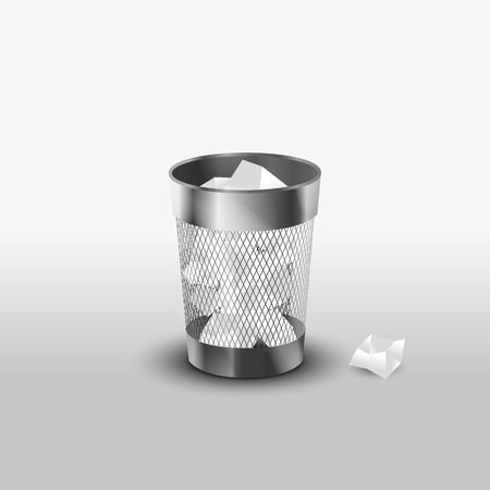 Steel trash can with paper garbage realistic vector icon Ilustração