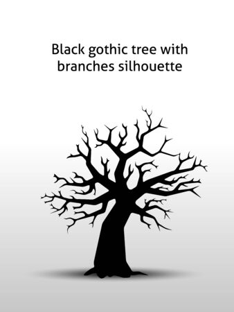 ebony tree: Black gothic tree with branches silhouette