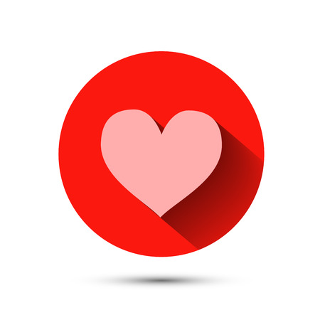 Pink heart icon on red background with long shadow Vector