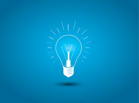 전구, 파란색 배경 그림에 아이디어 아이콘