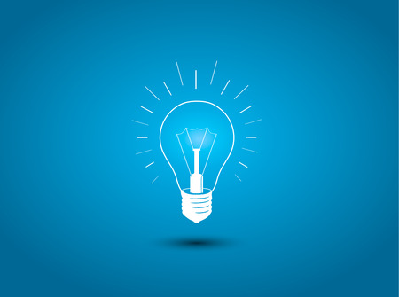 black and blue: Light bulb, idea icon on blue background illustration Illustration