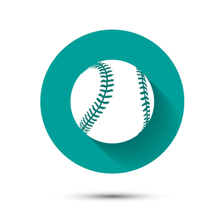 baseball cartoon: Baseball icon on green background with shadow