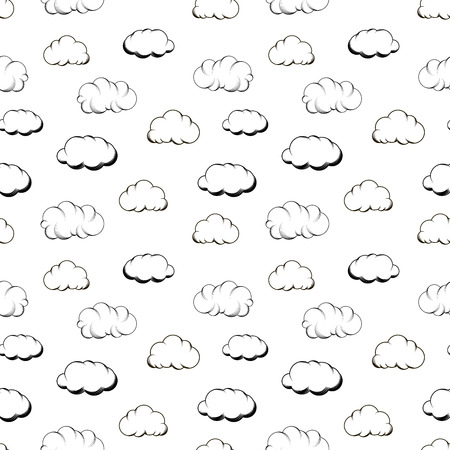 Retro hand engraving clouds on white seamless pattern Vector