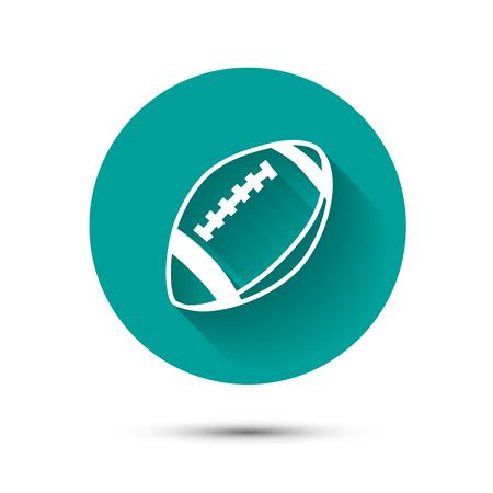 glowing skin: Icono de la bola de rugbi en fondo verde con la sombra