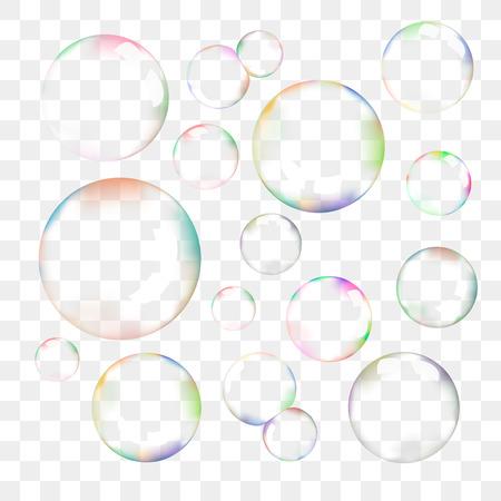 detersivi: Set di bolle di sapone trasparenti Vettoriali