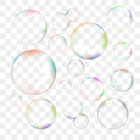 Set of transparent soap bubbles