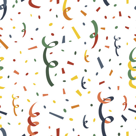 Exploding party popper with serpantin and confetti seamless pattern Stock Illustratie