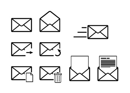 sent: Set of envelope outline icons for mail interface on white