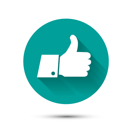 Social like flat icon on green background with shadow