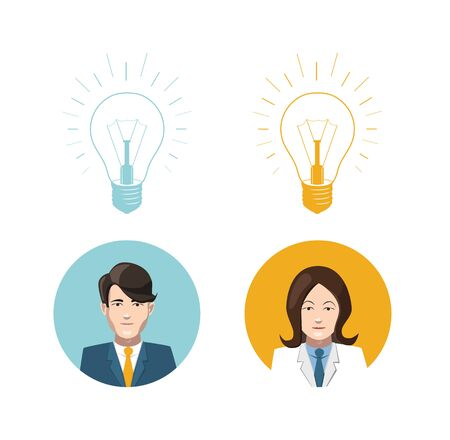lighting bulb: Mans and womans avatars with lighting bulb idea icons