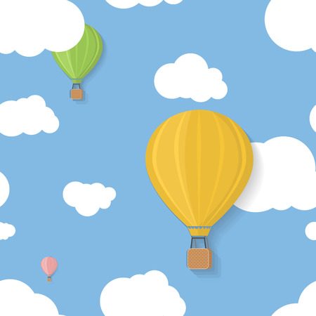 Three coloured aerostats in blue skies with clouds seamless pattern Vector