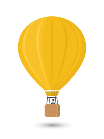 aerostat: Yellow aerostat with man, flat illustration isolated