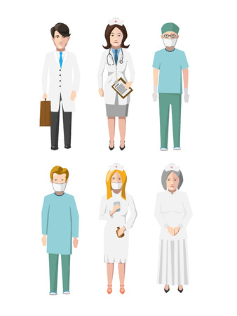 x stand: Set of six doctors flat cartoon characters different specializations on white