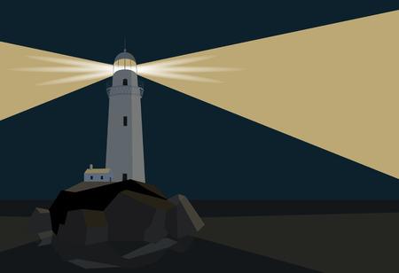 Lighthouse with barn on rocks by the sea, night time, flat illustration Ilustração