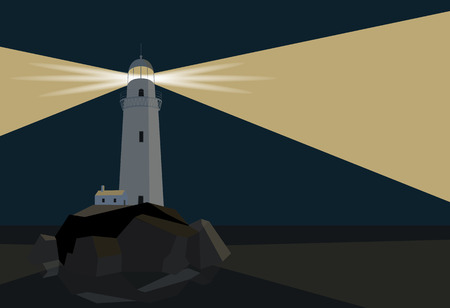 Lighthouse with barn on rocks by the sea, night time, flat illustration Illustration