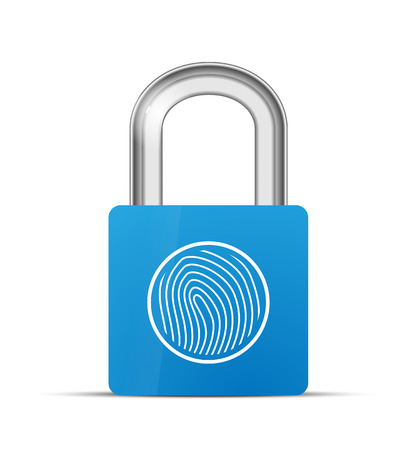 fingermark: Closed blue realistic lock with fingerprint scanner isolated on white Illustration