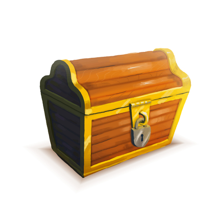 coffer: Realistic icon of treasure chest isolated Illustration