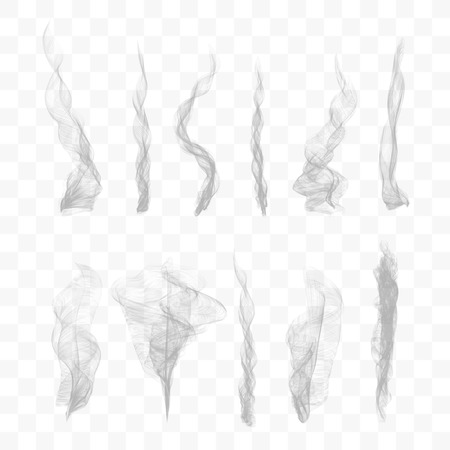 Set of 10 vector smoke on transparent background Illustration