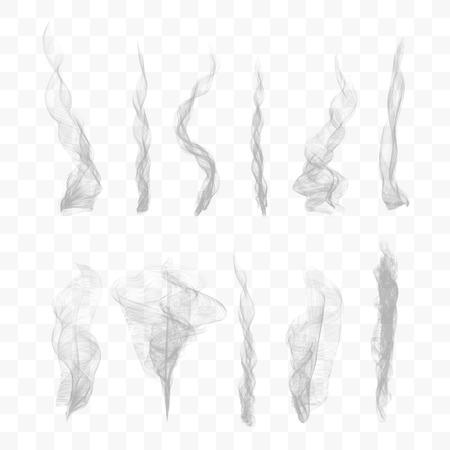 Set of 10 vector smoke on transparent background Illustration