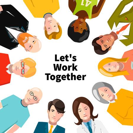 teammates: International group of people working in team illustration Illustration