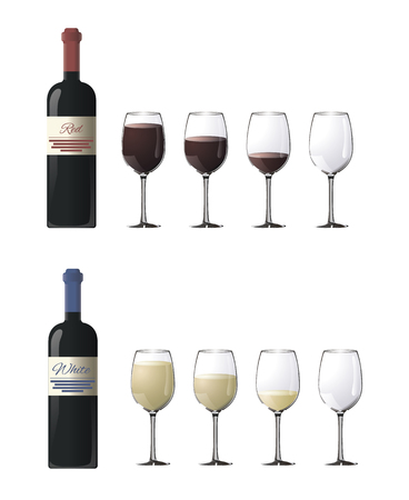 fullness: Bottles with red and white wine. Glasses with red and white wine of varying degrees of fullness isolated on white Illustration