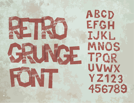 Retro type grunge font with alphabet, vintage typography