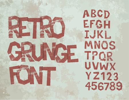 Retro type grunge font with alphabet, vintage typography