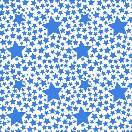 stelle blu: Blue stars on white background, seamless pattern