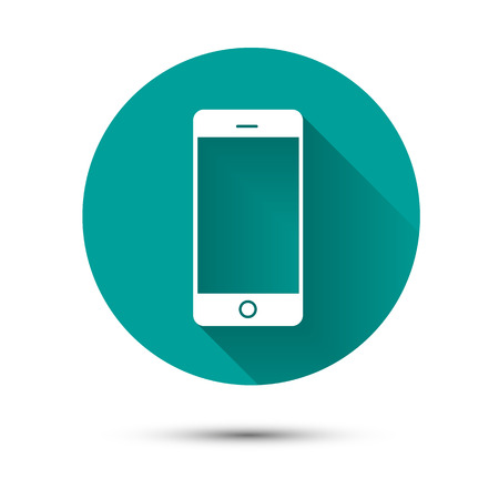 Smartphone white icon on green background with long shadow