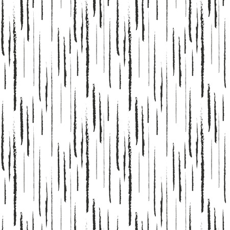 Abstract black ink grunge lines on white seamless pattern