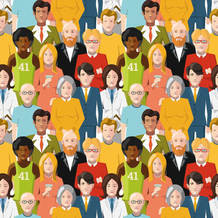 multiracial: Crowd of flat international people seamless pattern