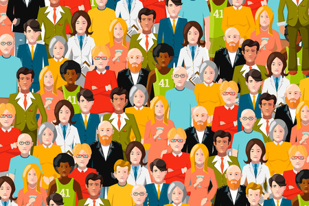 mixed family: International crowd of people, flat color illustration Illustration