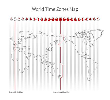 Las franjas horarias mundiales Mapa aislado en blanco Foto de archivo - 43704653