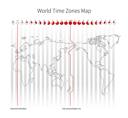 timezone: World Time Zones Map isolated on white Illustration