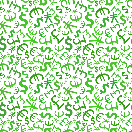 money pound: Green signs of world currencies on white background seamless pattern