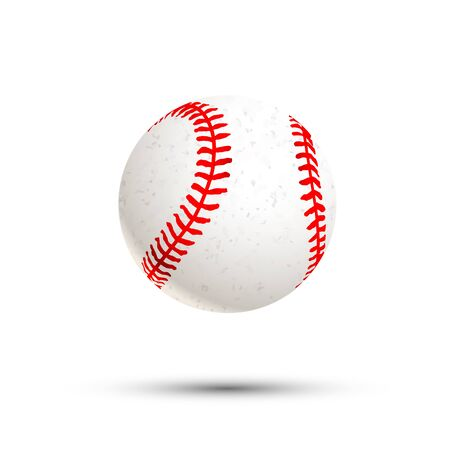 Realistic baseball ball icon with shadow isolated on white